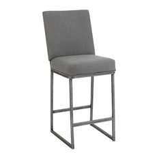 Bristol Bar Height Barstool Loft Gray Fabric/Silver Bisque 30-inch