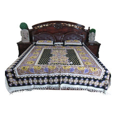 Mogul Interior - 3pc Cotton Bedspreads Galicha Print Indian Bedding 2 Pillows Cover - Sheet And Pillowcase Sets