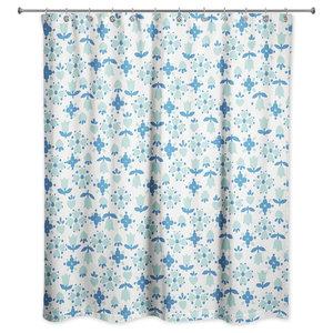 Tulip Pattern In Dark Blue Shower Curtain