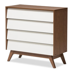 Hildon Mid-Century Modern 4-Drawer White And Walnut Storage Chest