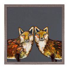 """Fox Duo"" Mini Framed Canvas by Eli Halpin, Gray"