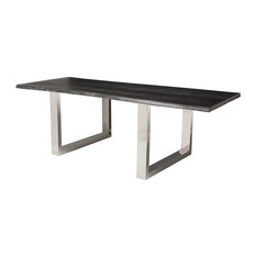 Sutton Dining Table Oxidized Grey Oak Top Stainless Legs 96-inch