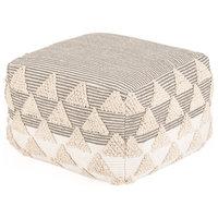 Lucy Hand Woven Cotton Pouffe in Geometric Pattern
