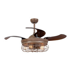 Industrial Ceiling Fan With Retractable Blades, Weather Wood