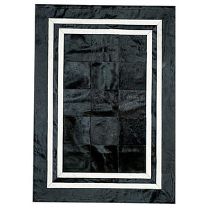 Patchwork Leather Cubed Cowhide SR1 Rug, Black and White, 200x300 cm