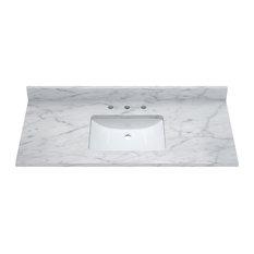 "Carrara White Marble Top With Mounted Rectangular Ceramic Basin, 49"""
