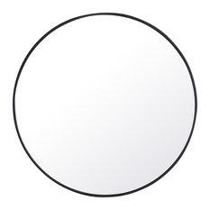 "42"" Round Metal Frame Mirror, Black"