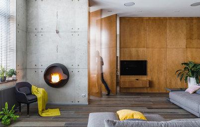 Houzz тур: Квартира с бетоном и поворотными стенами