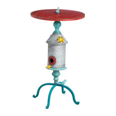 Eclectic Metal Birdhouse Table with Cast Iron Birds and Multi-Colored Finish