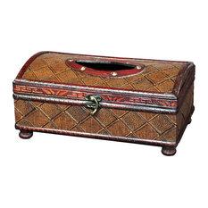 Vintiquewood - Antique Style Wooden Tissue Box - Tissue Box Holders