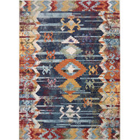 "Nuloom Contemporary Faded Tribal Abstract Area Rug, Navy, 7'10""x11'"