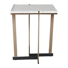 Sunpan 103790 Madelyn Side Table, Gold, White Marble