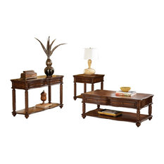3-Piece Tryon Occasional Set Cocktail, 1 End, Sofa Table w Drawer Br Mahogany