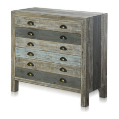 Seamoore Chest Sea Blue Painted Wood Gray Reclaimed Wood Metal Finished Pulls
