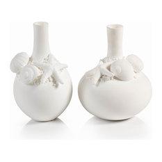 """4"""" Diameter Porcelain Shell Vases, Set of 2"""