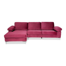 L-Shaped Sofa Velvet Upholstery With Memory Foam Cushions Comfortable Purple