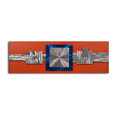 "Handcrafted ""Dimensional metal geometrics"" Metal on Hand Painted Canvas"