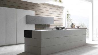 Cuisine Modulnova Twenty Cemento - Revêtement en résine de quartz aspect béton