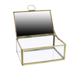 Monroe Jewelry Box With Mirror, Small, Brass