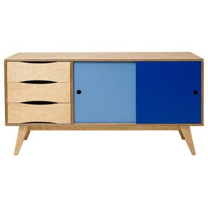 SoSixties Sideboard, Oak, Dark and Light Blue, Large
