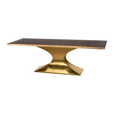 Gavra Dining Table Seared Brush Gold 112-inch