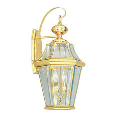 50 most popular traditional brass outdoor wall lights and sconces livex lighting inc livex lighting 2261 02 georgetown outdoor wall light in polished aloadofball Images