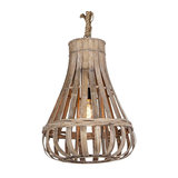 Country Pendant Lamp 44cm Wood with Rope - Excalibur