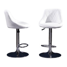 Set of 2 Bar Stools Adjustable PU Leather Barstools Swivel Pub Chairs White New