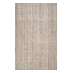 Handwoven Jute Ribbed Solid Jute Area Rug, Off White, 6'x9'