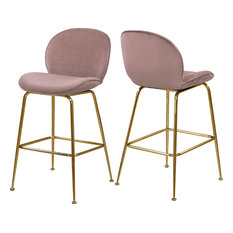 Paris Velvet Stool, Set of 2, Pink, Gold Base