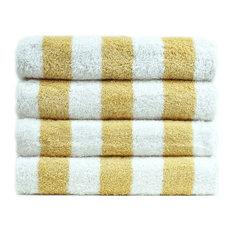 100% Cotton Pool Beach Towel, Cabana Yellow, Set of 4