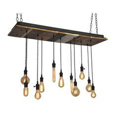 11 Light Reclaimed Wood Chandelier, Antique Brass Socket, Suspended Mount