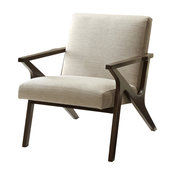 Mid Century Fabric and Wood Arm Chair, Beige