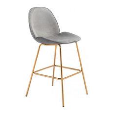 Zuo Siena Set Of Two Bar Chair In Graphite Gray Velvet Finish 101223