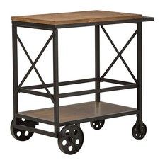 Chester Rustic Industrial Style Oak Brown and Black Metal Mobile Serving Cart