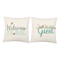 2pc Elephant Family Pillow Covers 20x20 White Cotton Shams