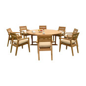 """Outdoor 9-Piece Dining Set With Round Table and Chairs, 72"""", Furniture Only"""