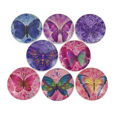 8 Piece Set Pink and Purple Butterfly Cabinet Knobs