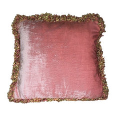 Just The Right Pillow Large Pink Velvet Pillows With Gold Green Confetti Fringe 14x18