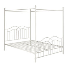 Simona Traditional Iron Canopy Queen Bed Frame, White