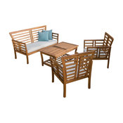 GDF Studio 4-Piece Louis Outdoor Solid Wood Chat With Cushions Set