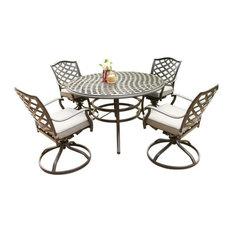 Fletcher 5-Piece Outdoor Aluminum Dining Set With Cushions, Cast Slate Sunbrella