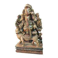 Mogul Interior - Consigned Hindu Ganesh Solid Wooden Sculpture Panchmukha Face Ganesha Statue - Decorative Objects And Figurines