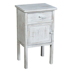 Shabby Chic Tall Bedside Table, White