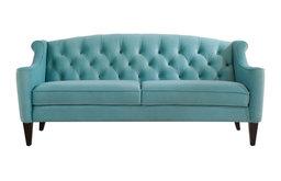 Ken Velvet Tufted Sofa, Arctic Blue