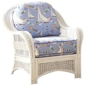 Regatta Arm Chair in White, Midnight Fabric