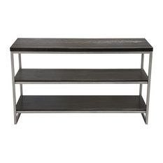 Empire 3-Tier Console Shelf Dark Brown Veneer With Brushed Silver Metal Frame