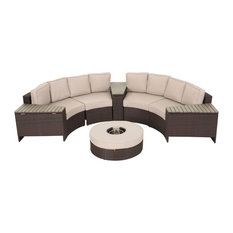Mia Outdoor 4 Seater Wicker Curved Sectional Set with Wedge Tables, Beige, Ice B
