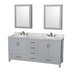 "72"" Double Bathroom Vanity Gray, White Marble Top, Medicine Cabinet"