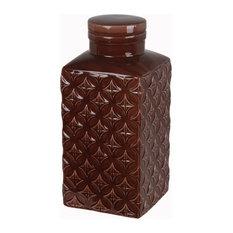 Privilege International Diamond Ceramic Jar With Lid, Large